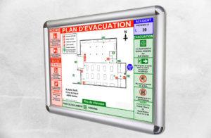 Plan d'évacuation avec cadre aluminium